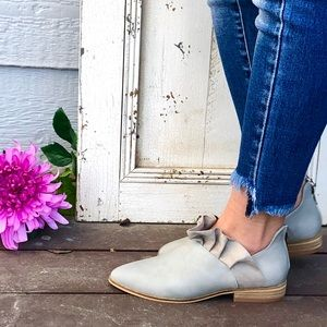 New! Grey Slip On Bootie with Ruffle and Zipper